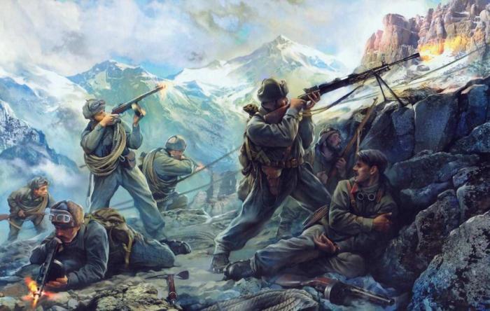 И. Хивренко Бой в горных отрогах Северного Кавказа