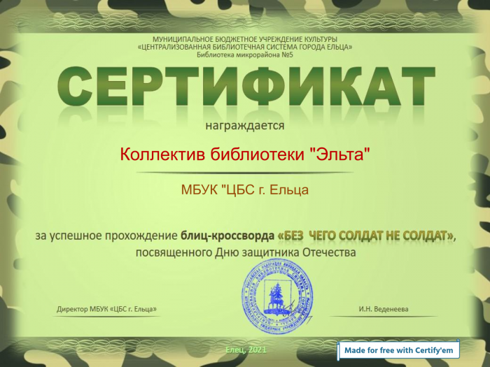 Certificate for Коллектив библиотеки -Эльта- for -Солдат не солдат без награды!-